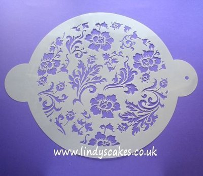 Chic Rose Circle Stencil (C344)