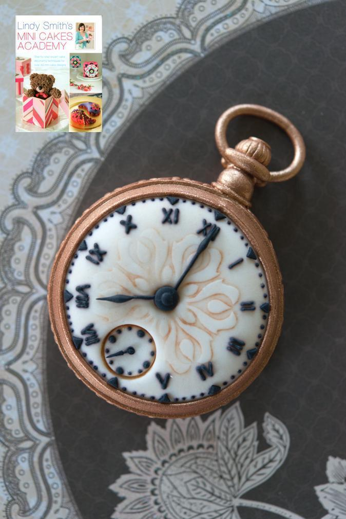 Antique pocket watch mini cake from Lindy's mini cakes academy book uses the scallop diamond cutter to mark the hours