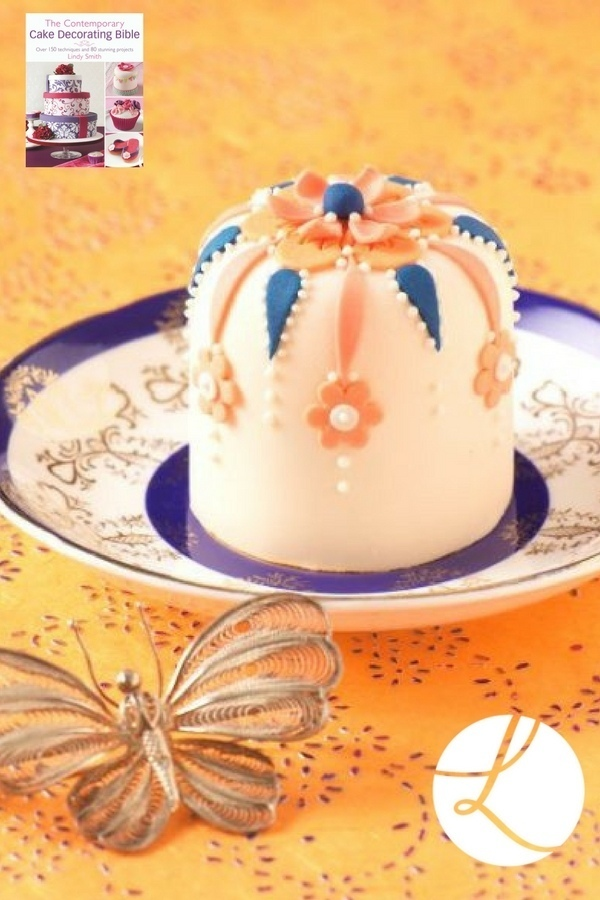 Flame shaped cutters used on this Rajasthan Rose' mini cake from Lindy Smith's 'Contemporary cake decorating bible' book