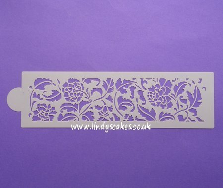Peony Cake Side Design Stencil (LC101) - Lindy's SKU18006