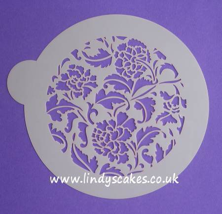 Peony Cake Top Design Stencil (LC100) - Lindy's SKU18007