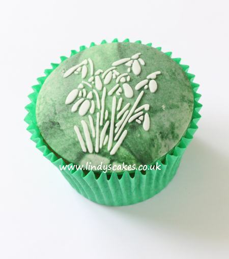 Snowdrops stencilled onto a cupcake
