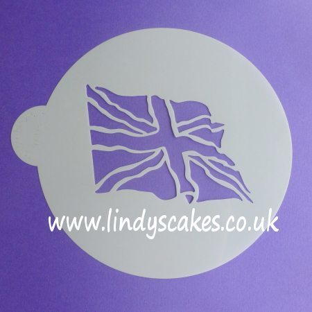 Union Jack Fluttering Flag Cake Top Stencil - Lindy's SKU1801111