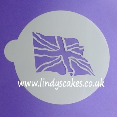 Union Jack Fluttering Flag Cake Top Stencil - Lindy's
