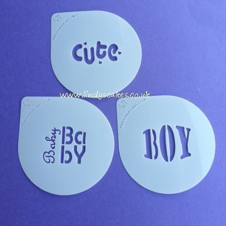 Baby and Boy Words Cupcake Stencil Set - Lindy's (LC207) SKU189465725511