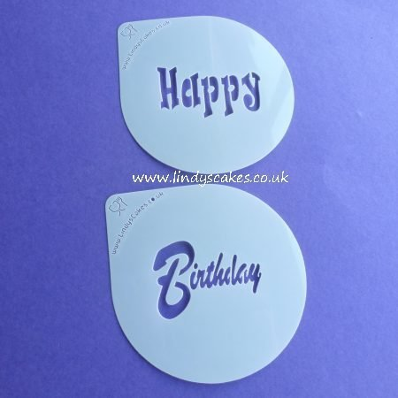 Happy and Birthday Words Cupcake Stencil Set - Lindy's (LC205)