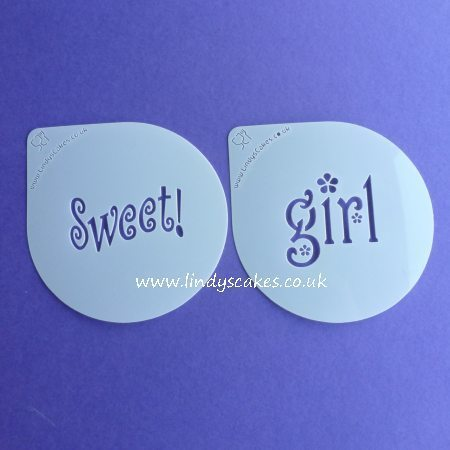 Sweet and Girl Words Cupcake Stencil Set - Lindy's (LC206) SKU18946572551