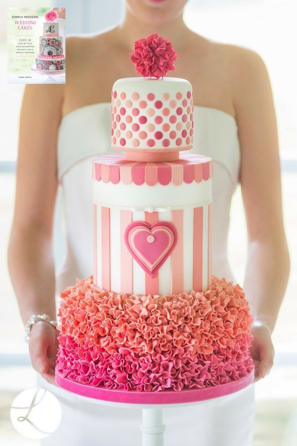 Sweatheart stripes wedding cake from Lindy's Simply Modern Wedding Cake book uses the Moghal Arch cutter to make sugar ruffles