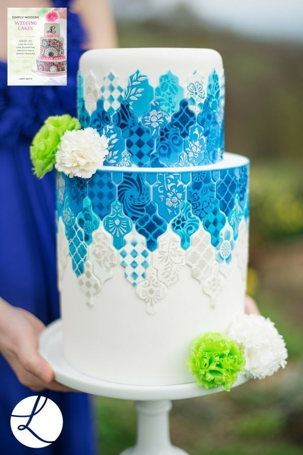 Hedgerow flower stencils used on this orginal blue and white version of Lindy's Moroccan tile cake
