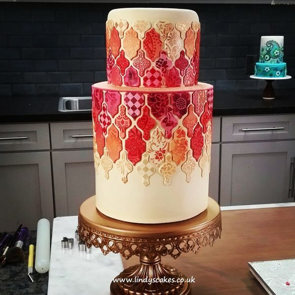 Speing garden stencil set used to help decorate this gorgeous tiled cake by Lindy Smith