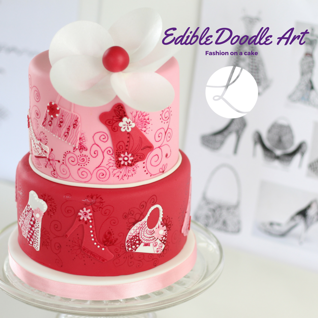 Edible doodle art cake created during a 1-2-1 class