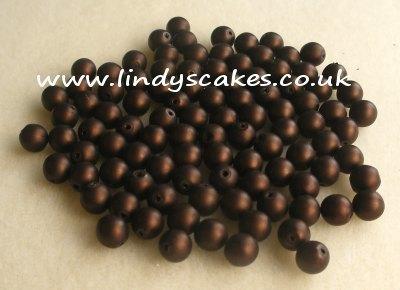 Brown - Matt Brown Glass Pearls (6mm) SKU17609