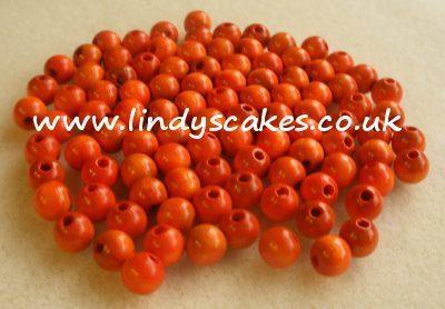 Orange - Tangerine Orange Wooden Beads (6mm) SKU1757211