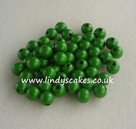 Green - Bottle Green Wooden Beads (8mm) SKU1757452