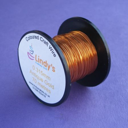 Gold - Antique Gold Coloured Copper Craft Wire (0.315mm) SKU1766417211