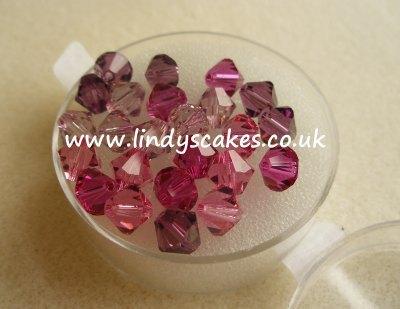 Pink Rose & Red Swarovski Double Cone Mixes (6mm) SKU176681