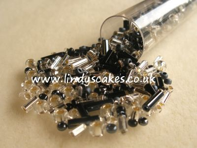 Black and Silver Mixed Bead Candy Tube SKU17680131