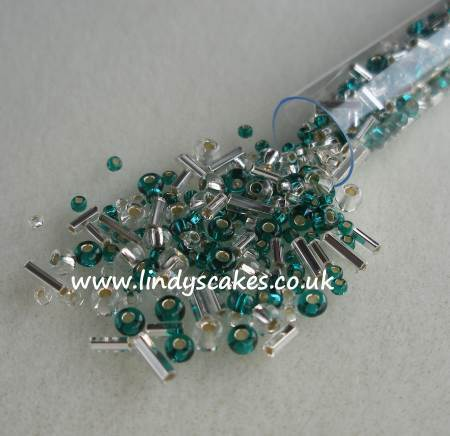 Green and Silver Mixed Bead Candy Tube SKU17680131111