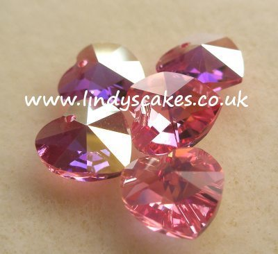 Pink Rose Swarovski Heart Pendants SKU176844