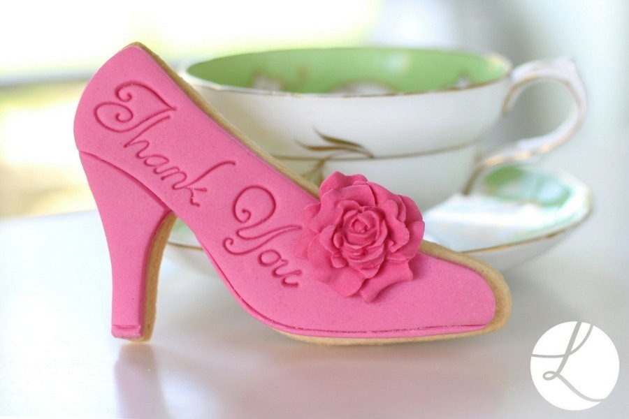 'Thank you' high heel shoe baked and decorated using Lindy's high heel shoe cookie cutter