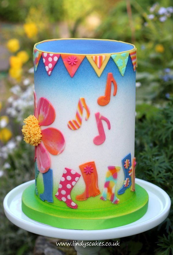 festival cake using Lindy's wellie boot cutter for a border design