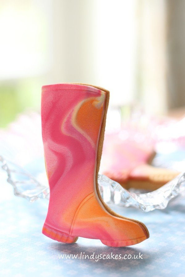 Marbled wellies created using Lindy's wellington boot cutter