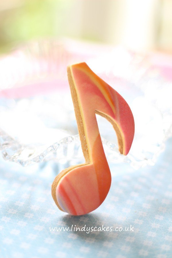marbled musical note cookie created using Lindy's musical note cookie cutter