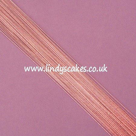 Pink - Metallic Rose Pink Floristry Wire (24g) SKU183221121111