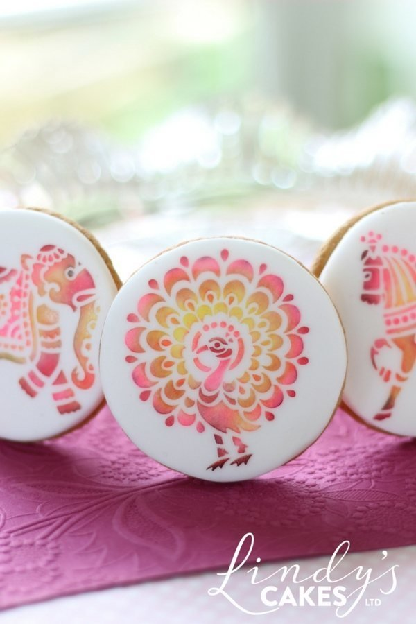 Pink peacock cookie