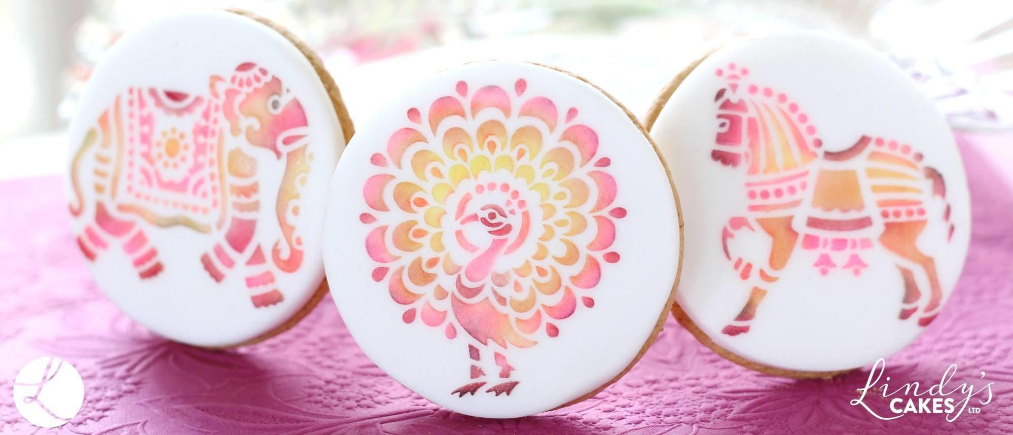 Indian animal stencils used to decorate biscuits