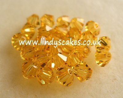 Gold - Light Topaz Swarovski Crystals (4mm)