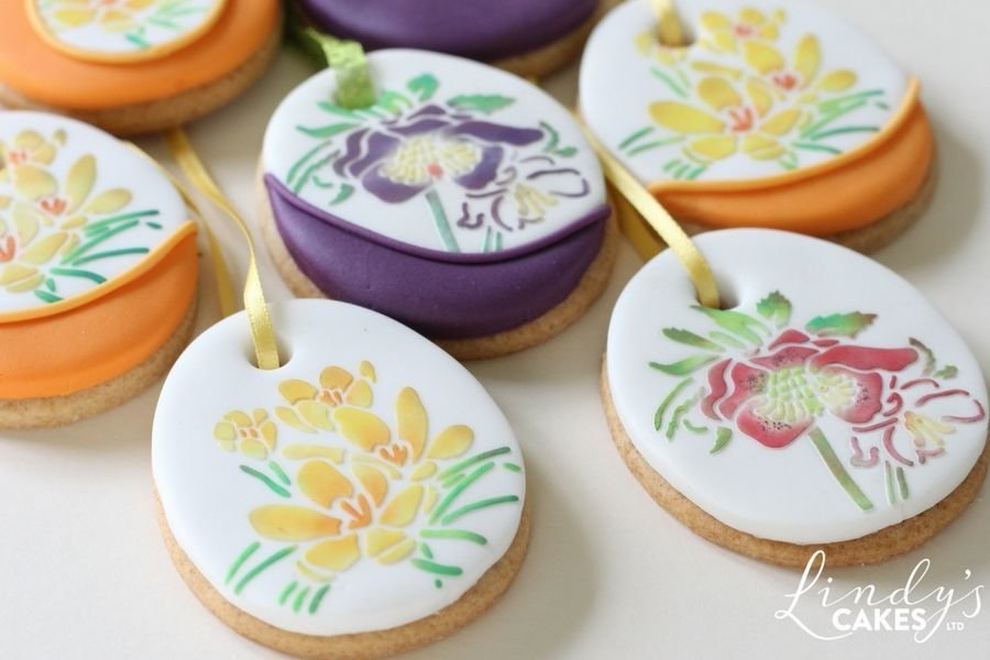 Easter egg hanging cookies created using Lindy's Easter egg cutter set