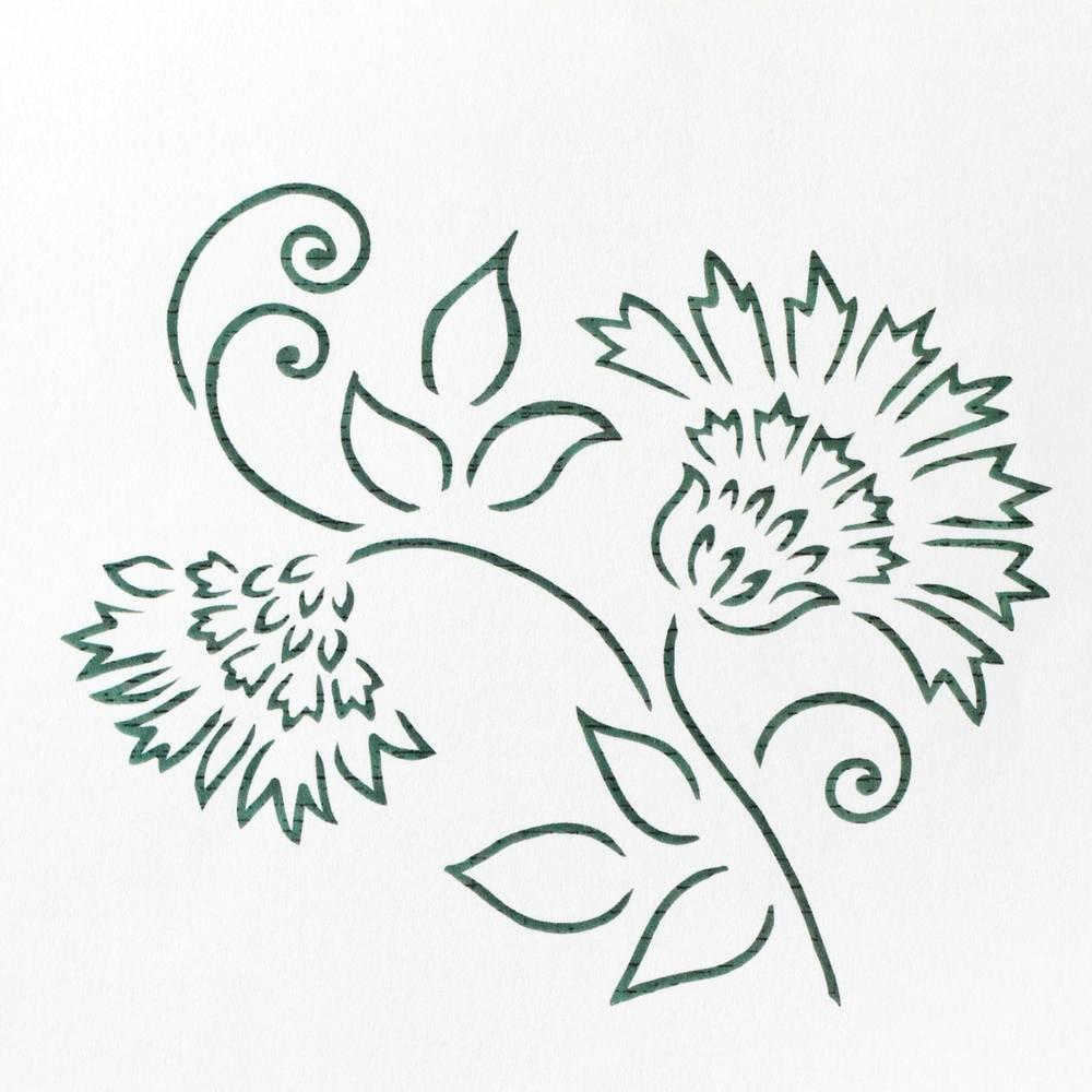 Brushstroke Thistle Flower Cake Stencil - CM050 00029