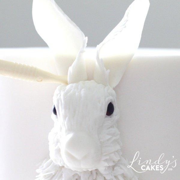 Bas-relief sugar hare in progress