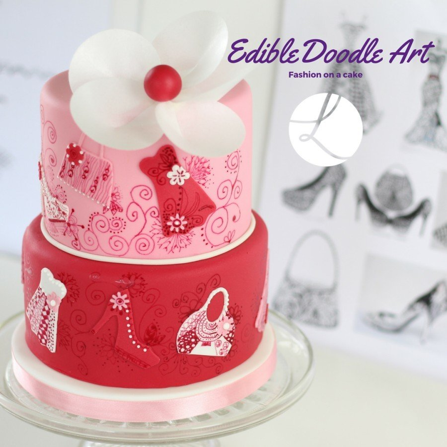 Fashion forward doodle cake using Lindy's shoe cutter