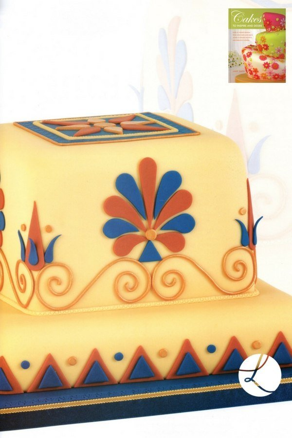 Greek inspired cake by Lindy Smith from her book 'Cakes to inspire and desire'