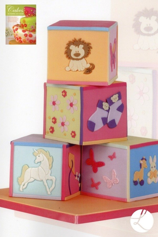 Nursery blocks cake by Lindy Smith from her book 'Cakes to inspire and desire'