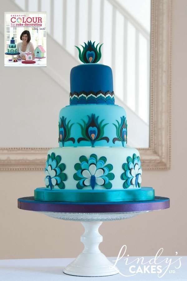 Peacock cake from creative colour for cake decorating book by Lindy Smith