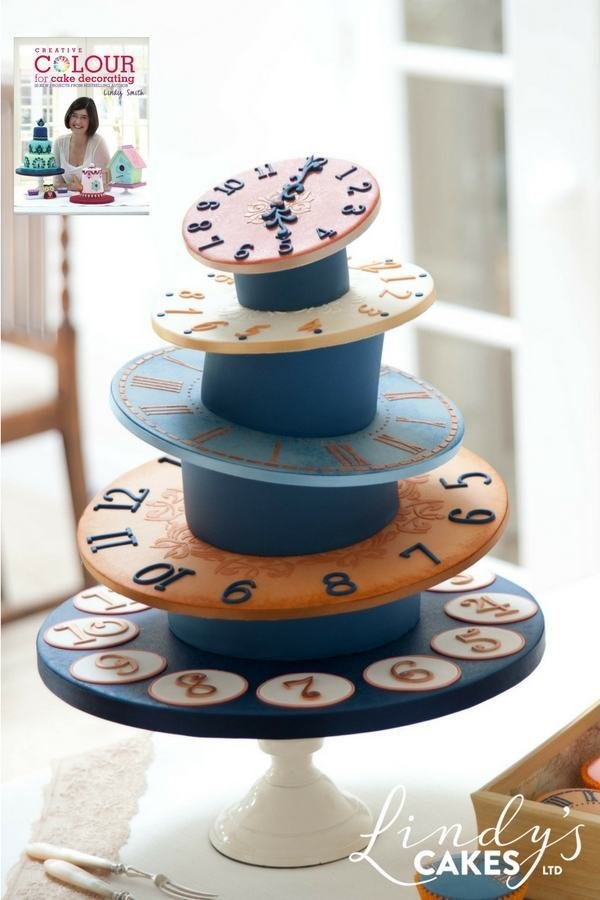 Clock tower cake  from creative colour for cake decorating book by Lindy Smith