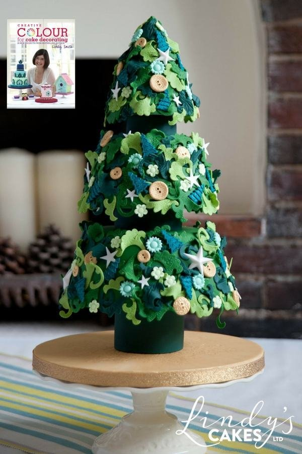 Festive fir cake from creative colour for cake decorating book by Lindy Smith
