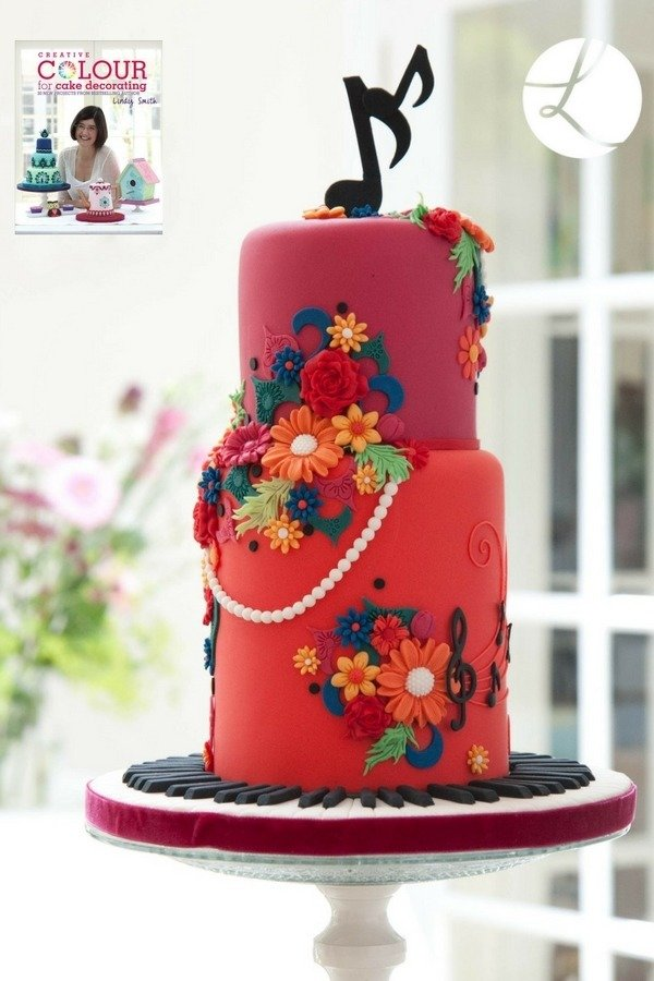 Colourful crescendo cake from creative colour for cake decorating book by Lindy Smith
