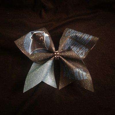 a6d6342ac71a Carolina Panthers PERSONALIZED Glitter Bow