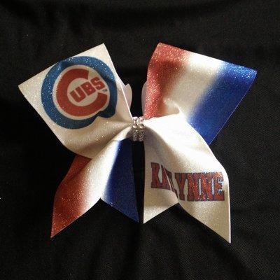 79e54826944e Chicago Cubs PERSONALIZED Glitter Bow