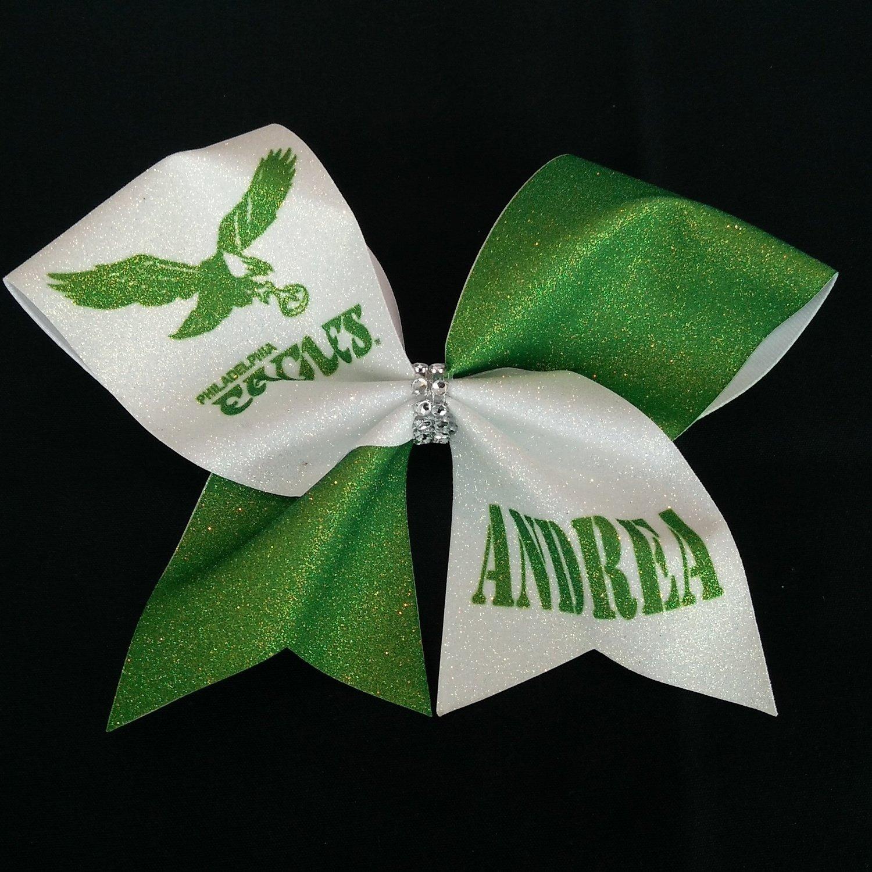 7466968b06c1 Kelly Green Philadelphia Eagles PERSONALIZED Glitter Bow