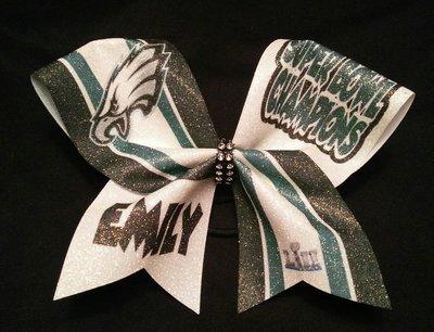 d0eeffdcc187 Philadelphia Eagles Superbowl Stripes PERSONALIZED Glitter Bow