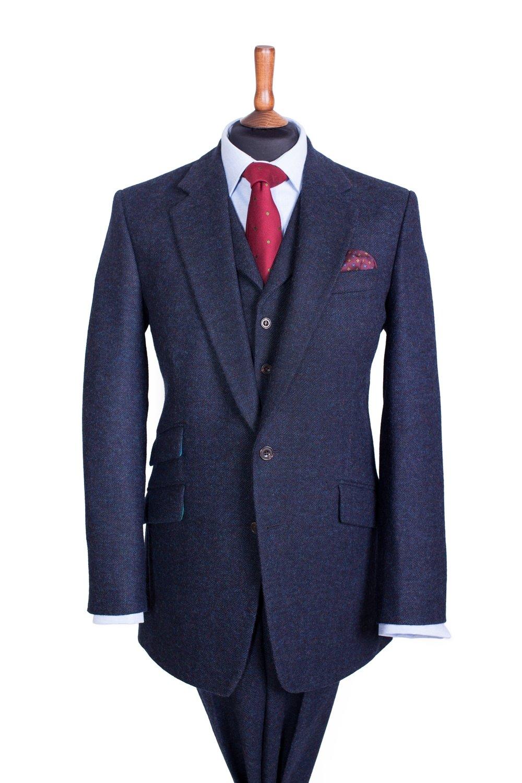 132138147 Stewart Christie Three Piece Tweed Suit, Midnight Ocean Herringbone