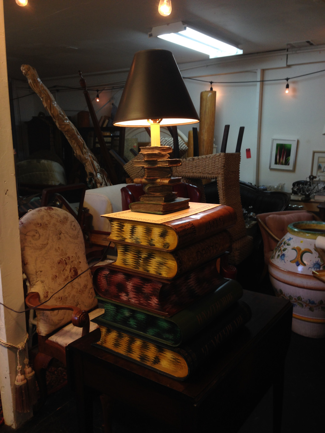 Stacking Faux-Book Table and Lamp by Gump's