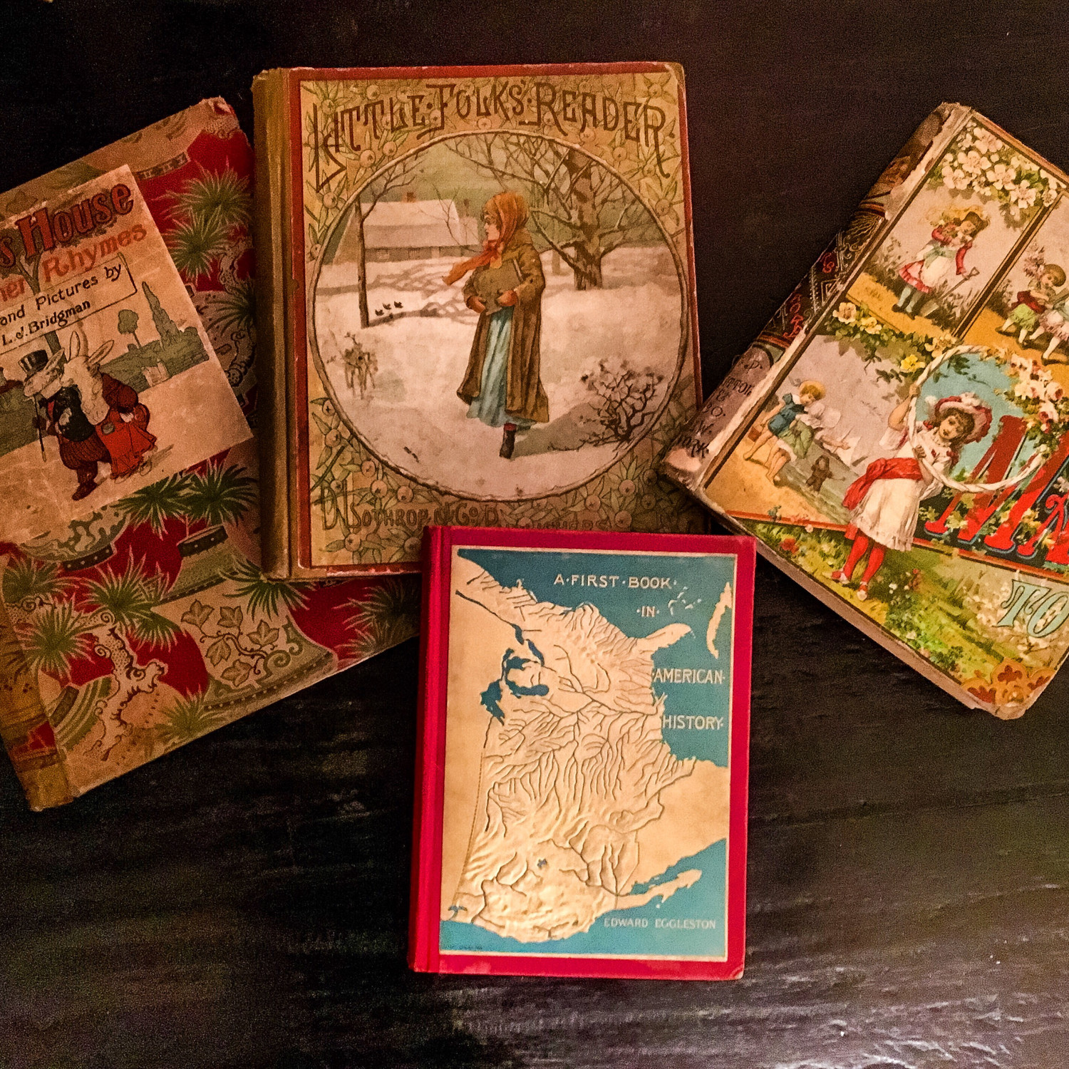 Rare Set of Four Vintage (1800's) Childrens' Readers