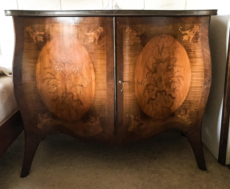 Pair of Louis XV Reproduction Mahogany and Satinwood Bombay Cabinets