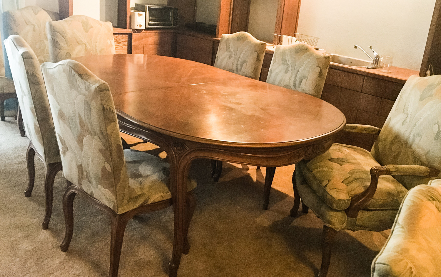 "Impressive 84"" x 50"" French Provincial Oval Dining Table with 12 Upholstered Chairs"